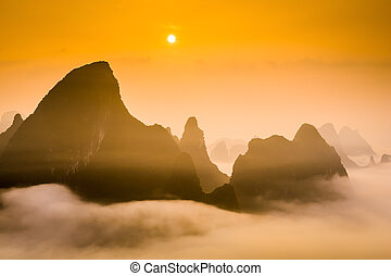 Karst Mountains - Karst Mountaintops in Guilin, China.