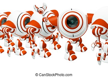 Small Robot Waving Hi and Standing Out