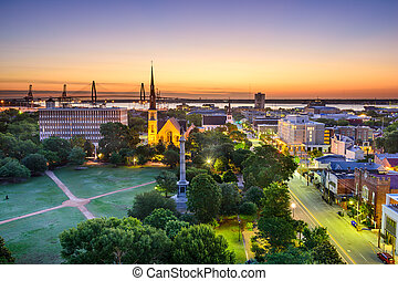 Charleston, sur, Carolina, contorno,