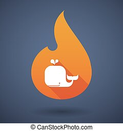 Flame icon with a whale