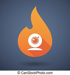 Flame icon with a web cam