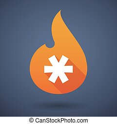 Flame icon with an asterisk - Illustration of a flame icon...