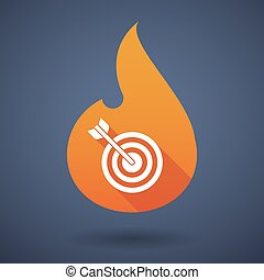 Flame icon with a dart board - Illustration of a flame icon...