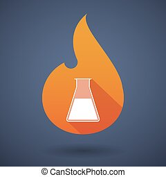 Flame icon with a chemical test tube - Illustration of a...