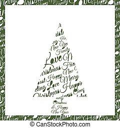 Christmas tree made up of phrases and dedication