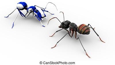 蟻, 話し, ペイントされた, 青, 蟻