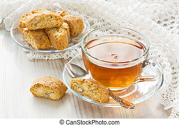 Cup tea - Transparent cup herbal tea with homemade...