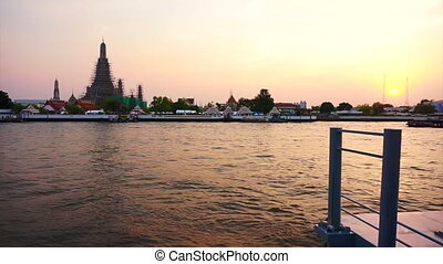 Temple of the Dawn in Bangkok - Wat Arun at Sunset, Temple...