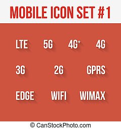 Mobile telecommunications technology symbol. 10 signs. -...