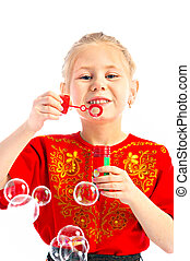 portrait girlie with soap bubbles on white background