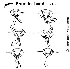 Vector tie and knot instruction, four in hand