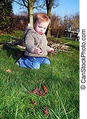 child explore garden nature