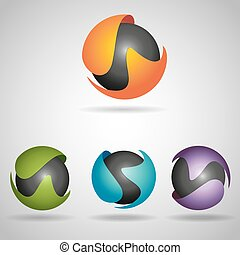 sphere colorful - Set of vector sphere symbol, icon with...