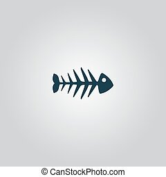 Fish skeleton Flat web icon or sign isolated on grey...