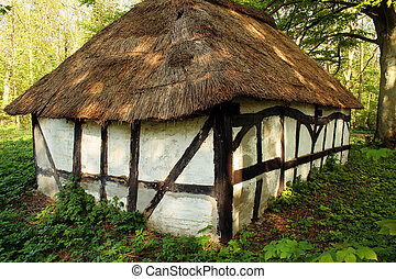 thatched cottage hut - cottage or hut in forest. straw...