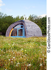 eco house made from recycle materials environmentally...