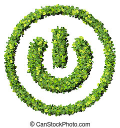 Media control turn off eco icon made from green leaves...