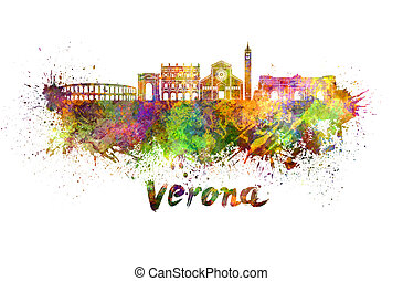 Verona skyline in watercolor splatters with clipping path