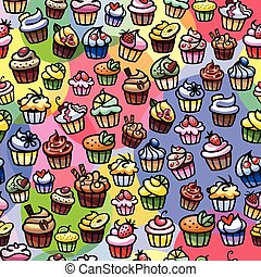 colorful cupcakes seamless background - colorful scattered...