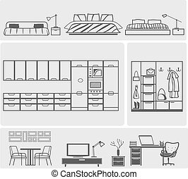 Furniture icons - icons of different domestic kitchen,...