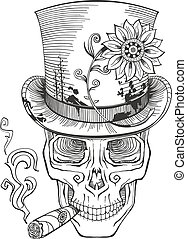 day of the dead, baron samedi drawing, vector