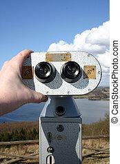 binoculars view tourism - binoculars for pay per view...
