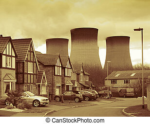 power station housing - power station by housing estate...
