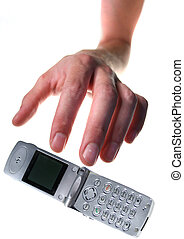 mobile phone theft. hand steal cellphone or drop it isolated...