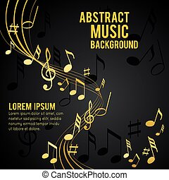 Abstract flyer design or brochure - Gold music notes on a...