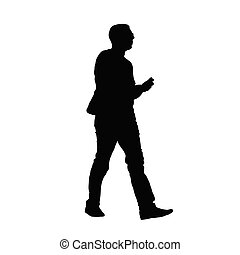 man with phone vector silhouette