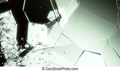Glass shattered and broken slow motion Alpha matte