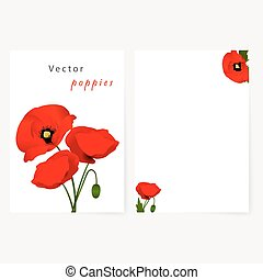 Template card with red flowers poppies - Template card for...