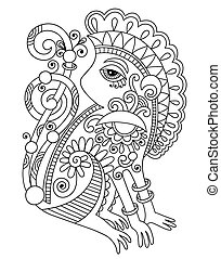 drawing of ethnic monkey in decorative ukrainian style -...