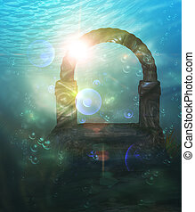 Ruins Underwater - Abstract surreal underwater landscape...
