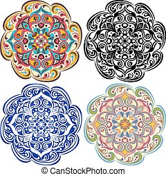 Set of  floral tatoo. Mandala in vintage & blue & oriental color
