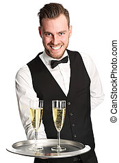 Waiter in his 20s serving champagne - Young attractive...