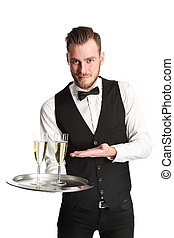 Waiter in his 20s serving champagne