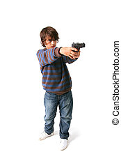 child with gun crime - child with gun isolated on white. kid...