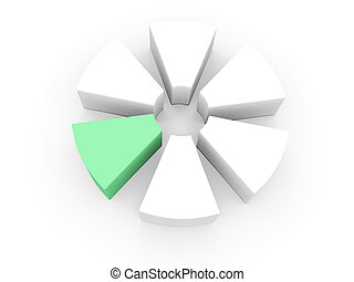 3d chart - pie chart divided into parts with the release of...