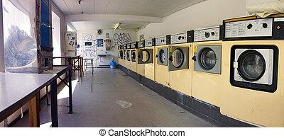 launderette washing machine - launderette with washing...