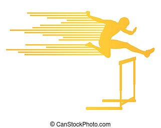 Athlete man hurdling in track and field vector background...