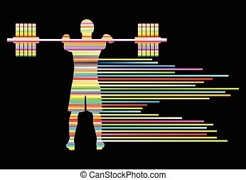 Weight lifting man abstract vector background concept made...
