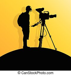 Cameraman silhouette vector background