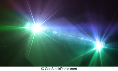 Camera flash double flare blue and green color