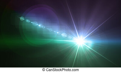 Camera flash single flare blue and green color
