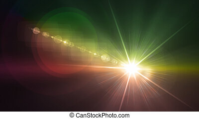 Camera flash single flare green and yellow