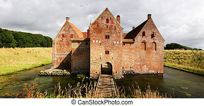 Castle with moat in Denmark