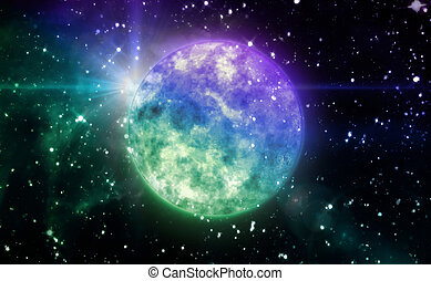 color blue planet in space