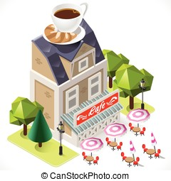 Cafe Building Tint Icon Isometric