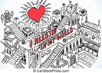 Hand Drawn Love Concept - Valentines Card with Heart and I...